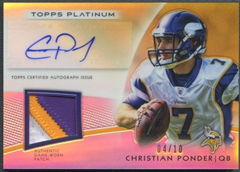 2012 Topps Platinum #AVPCP Christian Ponder Gold Refractor Patch Auto #04/10