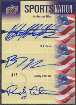 2011 Upper Deck World of Sports #SNSPC Randy Couture Anderson Silva BJ Penn Sports Nation Auto #4/5