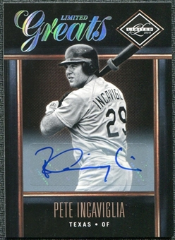2011 Panini Limited Greats Signatures #28 Pete Incaviglia Autograph /399