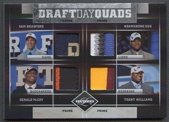 2010 Limited #1 Sam Bradford Ndamukong Suh Gerald McCoy Trent Williams Draft Day Quads Patch #4/4