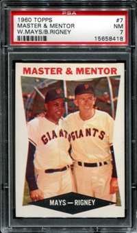 1960 Topps Baseball #7 Master & Mentor Willie Mays / Bill Rigney PSA 7 (NM) *8418