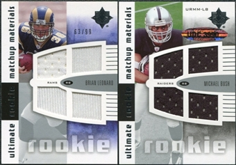 2007 Upper Deck Ultimate Collection Rookie Materials Matchup #LB Brian Leonard/Michael Bush /99