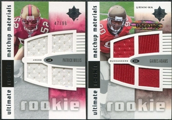 2007 Upper Deck Ultimate Collection Rookie Materials Matchup #WA Patrick Willis/Gaines Adams /99