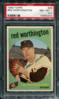1959 Topps Baseball #28 Red Worthington PSA 8.5 (NM-MT+) *3243