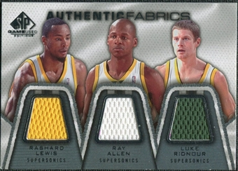 2007/08 Upper Deck SP Game Used Authentic Fabrics Triple #LAR Rashard Lewis/Ray Allen/Luke Ridnour /50