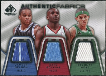 2007/08 Upper Deck SP Game Used Authentic Fabrics Triple #NBW Jameer Nelson/Earl Boykins/Delonte West /50