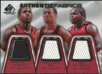 2007/08 Upper Deck SP Game Used Authentic Fabrics Triple #WRR Martell Webster/Brandon Roy/Zach Randolph /50