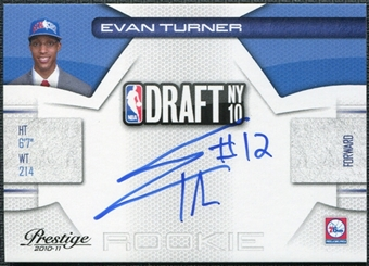 2010/11 Panini Prestige NBA Draft Class Signatures #2 Evan Turner RC Autograph 272/299