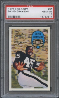 1970 Kellogg's Football #36 David Grayson PSA 10 (GEM MT) *3611