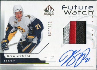 2006/07 Upper Deck SP Authentic Limited #168 Drew Stafford RC Patch Autograph 37/100