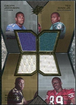 2007 Upper Deck SPx Freshman Tandems Quad Jerseys #JGJH Calvin Johnson/Ted Ginn Jr./Robert Meachem/Jason Hill