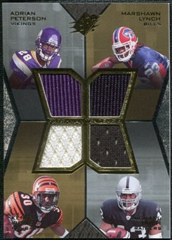 2007 Upper Deck SPx Freshman Tandems Quad Jersey #PLIB Adrian Peterson Marshawn Lynch Kenny Irons Michael Bush