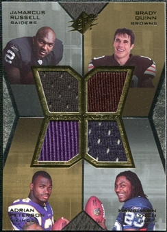 2007 Upper Deck SPx Freshman Tandems Quad Jerseys #RQPL Russell Brady Quinn Adrian Peterson Marshawn Lynch