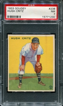 1933 Goudey Baseball #238 Hugh Critz PSA 7 (NM) *1230
