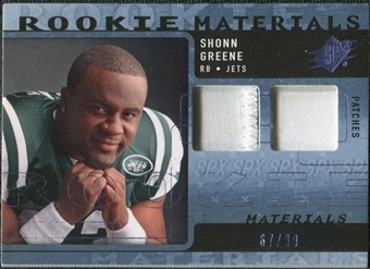 2009 Upper Deck SPx Rookie Materials Dual Swatch Patch #RMSG Shonn Greene /99