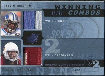 2009 Upper Deck SPx Winning Combos Patch #FJ Calvin Johnson/Larry Fitzgerald /25