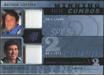 2009 Upper Deck SPx Winning Combos Patch #SS Matthew Stafford/Mark Sanchez /25