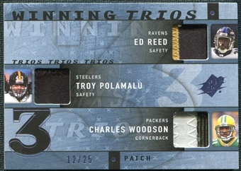 2009 Upper Deck SPx Winning Trios Patch #DB1 Ed Reed Troy Polamalu Charles Woodson 12/25