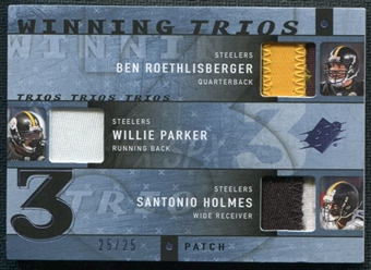 2009 Upper Deck SPx Winning Trios Patch #PIT Ben Roethlisberger Willie Parker Santonio Holmes 25/25