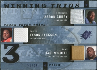 2009 Upper Deck SPx Winning Trios Patch #RC1 Aaron Curry/Tyson Jackson/Jason Smith /25