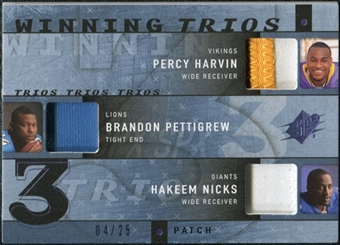 2009 Upper Deck SPx Winning Trios Patch #RCR Percy Harvin/Brandon Pettigrew/Hakeem Nicks /25