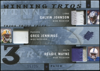 2009 Upper Deck SPx Winning Trios Patch #YRD Calvin Johnson Greg Jennings Reggie Wayne 15/25