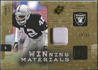 2009 Upper Deck SPx Winning Materials Patch #WRL Ronnie Lott /99