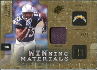 2009 Upper Deck SPx Winning Materials Patch #WVJ Vincent Jackson /99