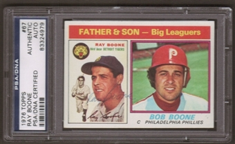 1976 Topps Ray Boone #67 Autographed Card PSA Slabbed (4979)