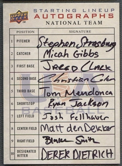 2008 Upper Deck Stephen Strasburg Starting Lineup National Team Auto #02/12