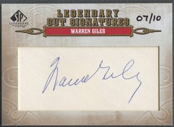 2011 SP Legendary Cuts #194 Warren Giles Legendary Signatures Auto #07/10
