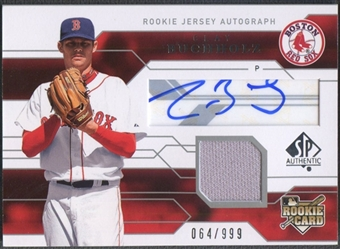 2008 SP Authentic #112 Clay Buchholz Rookie Jersey Auto #064/999