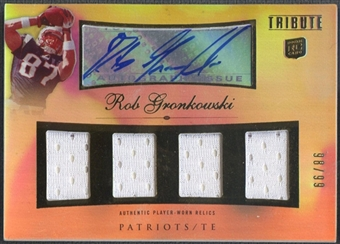 2010 Topps Tribute #AQRRGR Rob Gronkowski Rookie Quad Jersey Auto #98/99