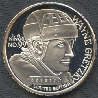 Wayne Gretzky All Time NHL Leading Scorer One Troy Oz.999 Fine Silver Coin