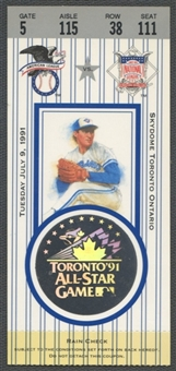 1991 Baseball All Star Game Ticket Toronto Blue Jays