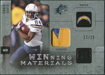 2009 Upper Deck SPx Winning Materials Patch Platinum #WCD Craig Davis /25