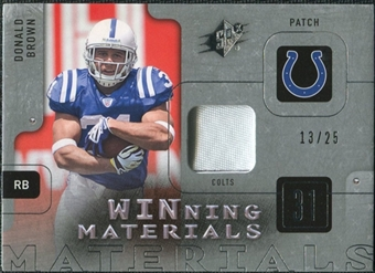 2009 Upper Deck SPx Winning Materials Patch Platinum #WDO Donald Brown /25