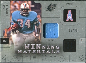 2009 Upper Deck SPx Winning Materials Patch Platinum #WEC Earl Campbell 15/25
