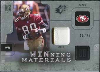 2009 Upper Deck SPx Winning Materials Patch Platinum #WJR Jerry Rice /25