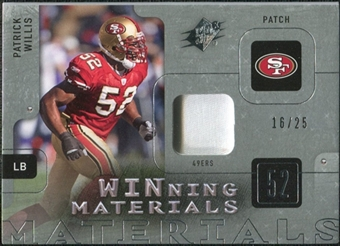 2009 Upper Deck SPx Winning Materials Patch Platinum #WPW Patrick Willis /25