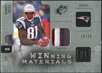 2009 Upper Deck SPx Winning Materials Patch Platinum #WRM Randy Moss /25