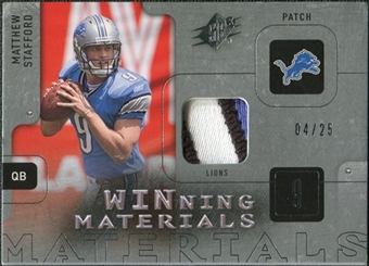 2009 Upper Deck SPx Winning Materials Patch Platinum #WST Matthew Stafford /25