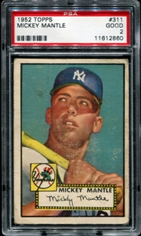 1952 Topps Baseball #311 Mickey Mantle PSA 2 (GOOD) *2860
