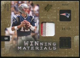 2009 Upper Deck SPx Winning Materials Patch #WBR Tom Brady 8/99