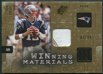2009 Upper Deck SPx Winning Materials Patch #WBR Tom Brady 3/99
