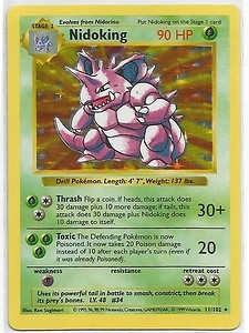 Pokemon Base Set 1 Single Nidoking 11/102 - Shadowless - NEAR MINT (NM)