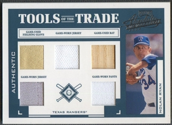 2004 Absolute Memorabilia #108 Nolan Ryan Tools of the Trade Bat, Glove, 2x Jersey, & Pants #13/25