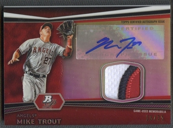 2012 Bowman Platinum #MT Mike Trout Red Refractor Patch Auto #16/25