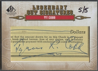 2011 SP Legendary Cuts #184 Ty Cobb Legendary Signatures Cut Auto #5/5