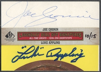 2011 SP Legendary Cuts #SS30AC Luke Appling & Joe Cronin Legendary Dual Signatures Cut Auto #10/15